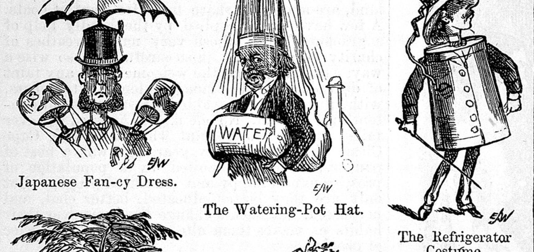 For the hot-headed. Illustrating hats to prevent sun-stroke.