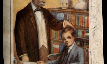 Joseph Millot Severn, a British phrenologist, examining a boy. Colour process print, c. 1929.